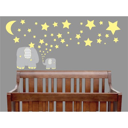 Yellow And Grey Elephant Wall Decals Elephants Nursery Decor Stickers With Stars