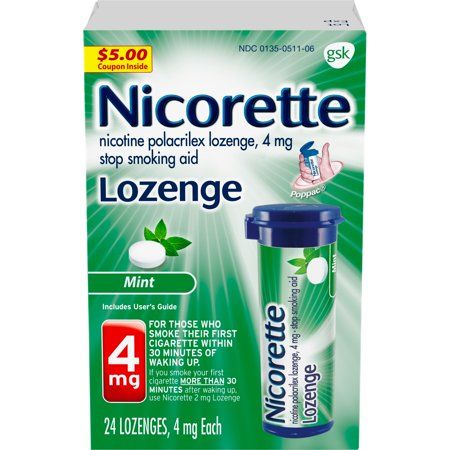 Nicorette Nicotine Lozenge, Stop Smoking Aid, 4 mg, Mint Flavor, 24