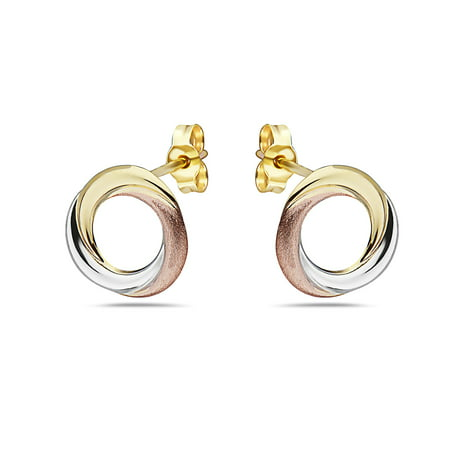 14k Tri Color Gold Round Stud Earrings