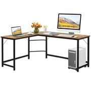 Gymax L Shaped Desk Corner Computer Desk PC Laptop Gaming Table Workstation Black/Natural/Brown