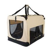 Beige Soft Side Pet Travel Carrier Crate