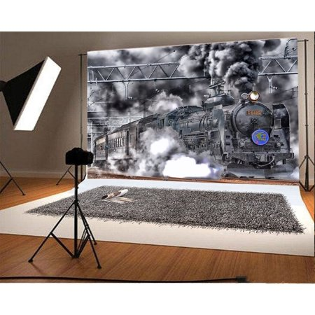 HelloDecor Polyester Vintage Black Engine Backdrop 7x5ft Photography Background Steam Train Old Locomotive Railway Children Boys Birthday Party Decoration