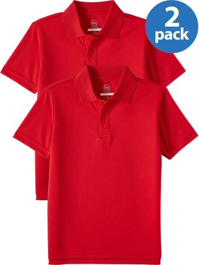 Wonder Nation Boys 4-18 School Uniform Short Sleeve Performance Polo Shirt, 2-Pack Value Bundle