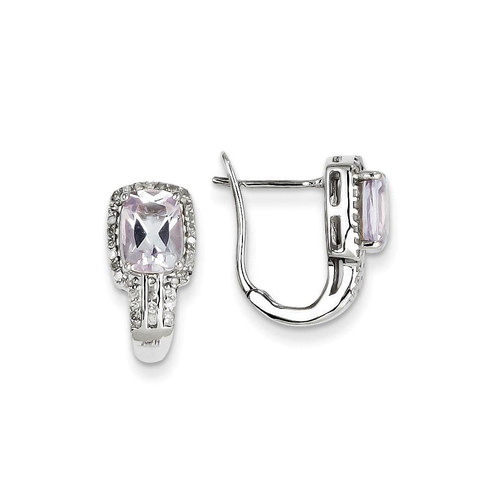 Sterling Silver Diamond & Pink Amethyst Hinged Oval Earrings. Carat Wt- 1.61ct (0.6IN x 0.6IN )
