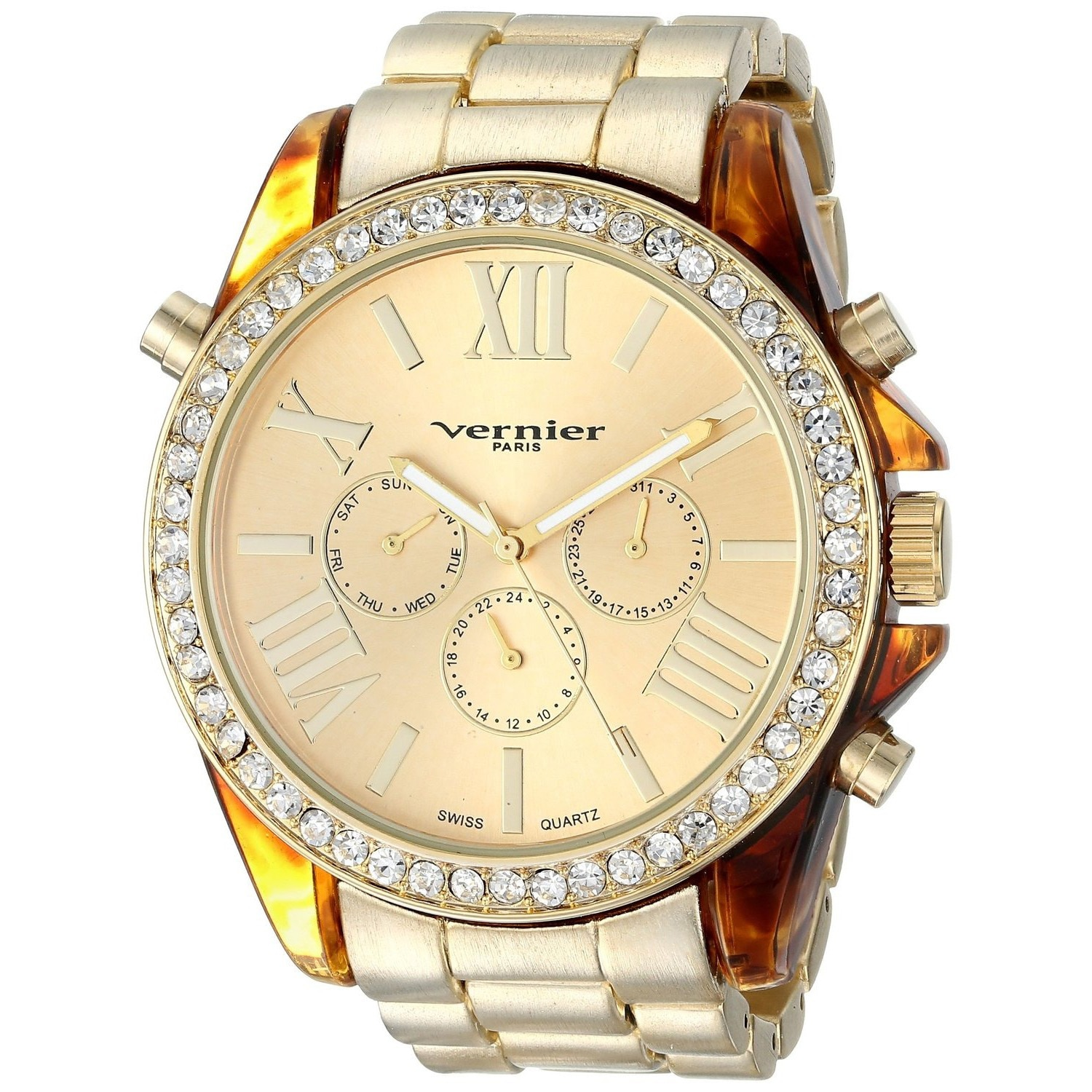 Vernier  Paris Women's Swiss Multi-function Boyfriend Size Matte Finsh Tortoise Enamel Bezel Watch