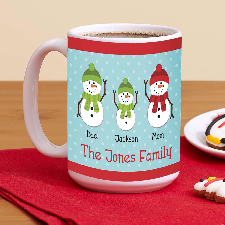 Personalized Snowman Family Coffee Mug, 15 oz