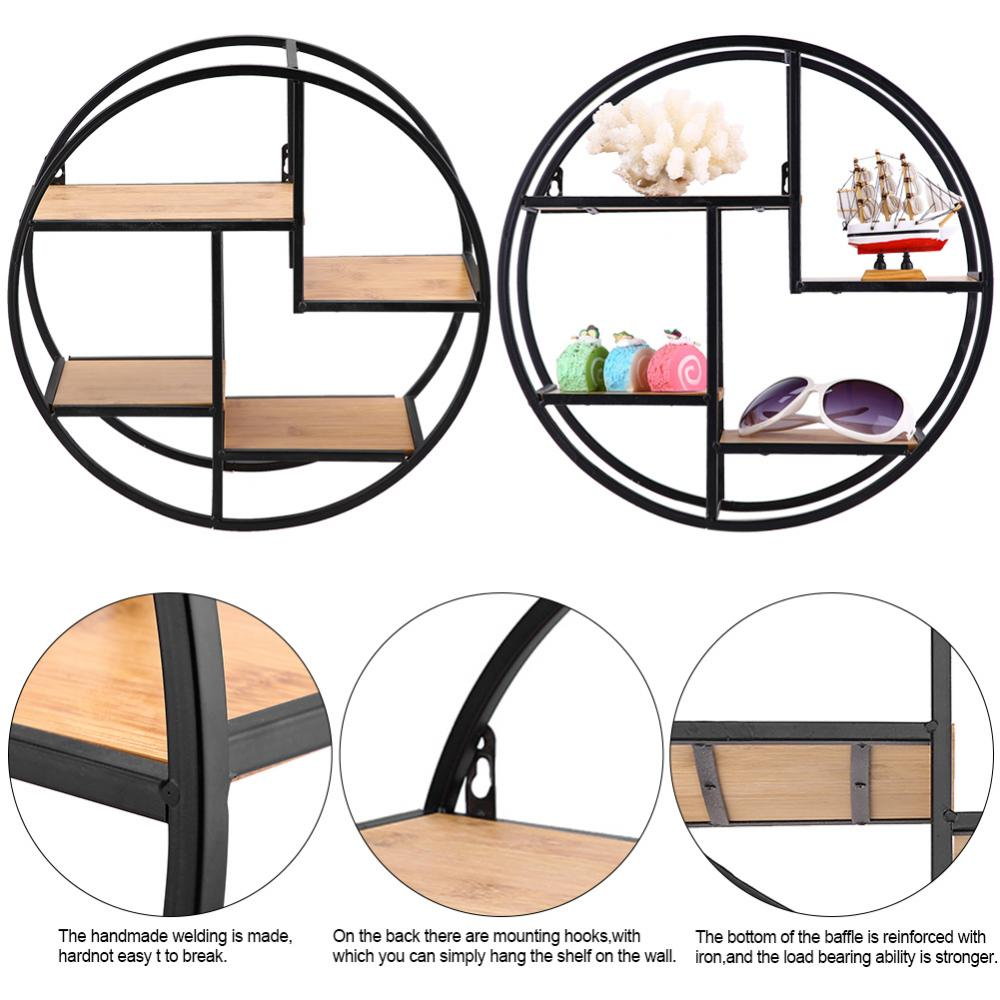 House Shaped Iron Wooden Wall Shelf Display Rack Shelf Storage Unit Decor book rack