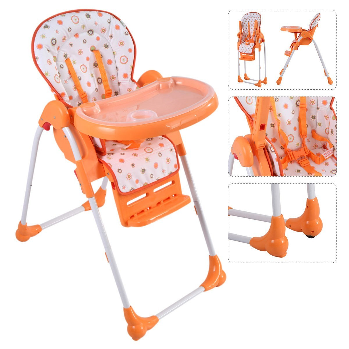Adjustable Baby High Chair Infant Toddler Feeding Booster Seat Folding - Orange