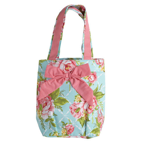Jessie Steele Cottage Kitchen Rose Lunch Tote Bag with Bow