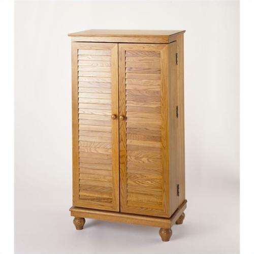 "Leslie Dame 40"" CD DVD Media Cabinet in Oak with Louvered Doors by Leslie Dame"