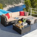 Walnew 5-Pieces All-Weather Conversation Set and Glass Table