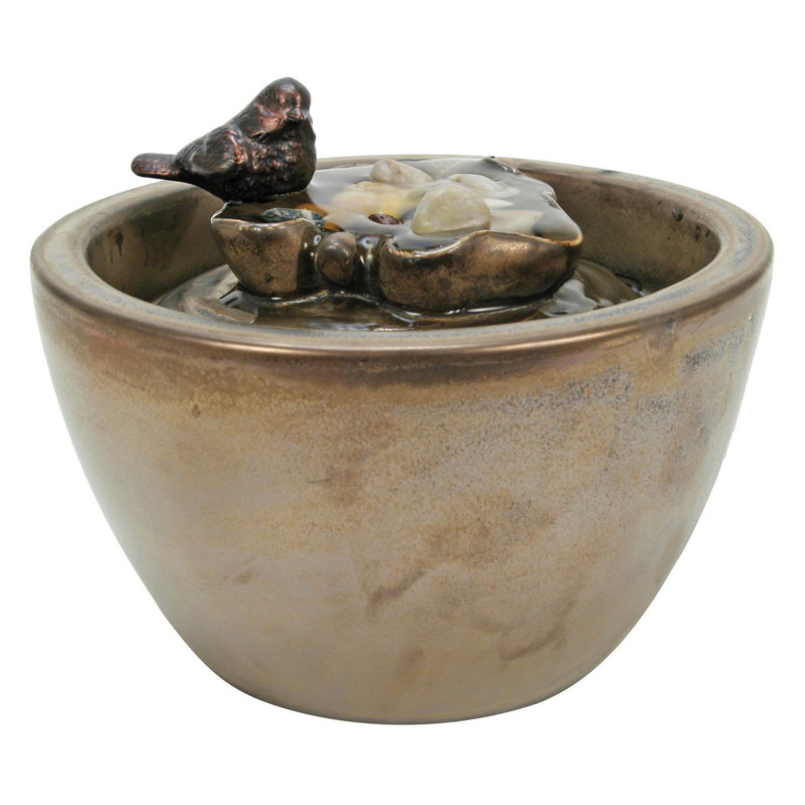 Foreside Home and Garden Sparrow on Leaf Ceramic Tabletop Fountain