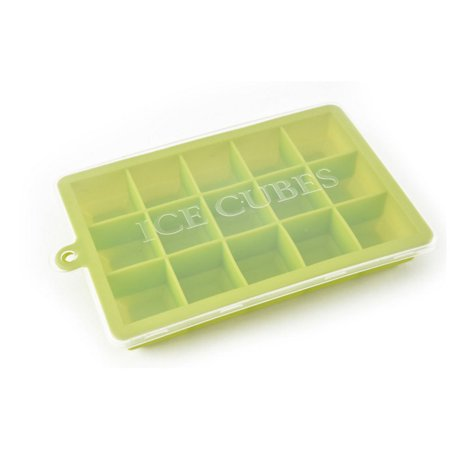 15-Hole Food Grade Silicone Ice Cube Mold Whisky Ice Tray with Lid Square-shape DIY Ice Mold