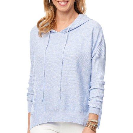 Democracy Womens Solid Textured Hooded Long Sleeve Top Season Long Sleeve Top
