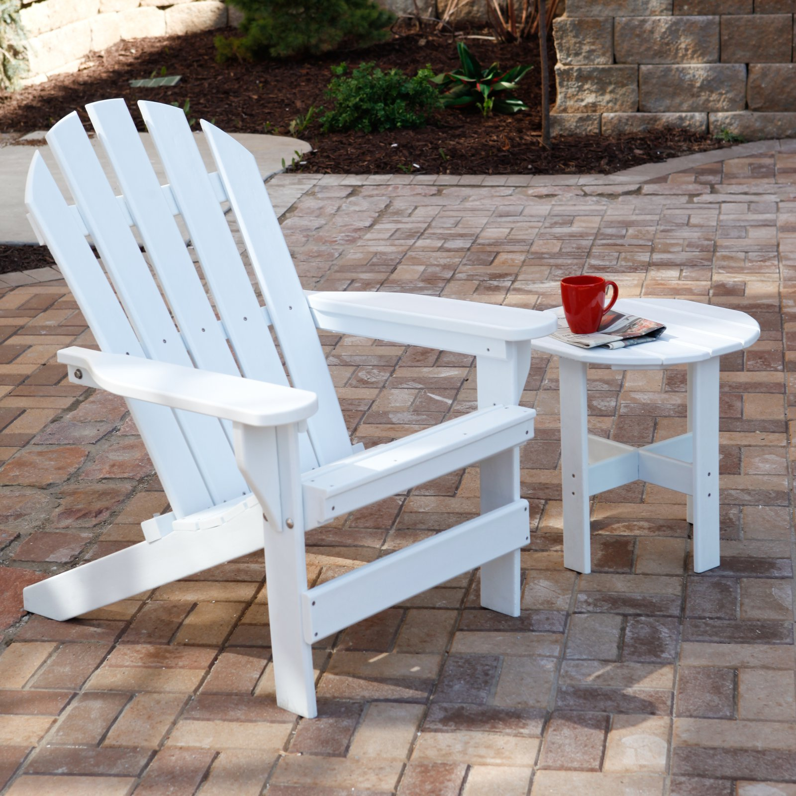 Jayhawk Plastics Recycled Plastic Cape Cod Adirondack Chair With Side Table