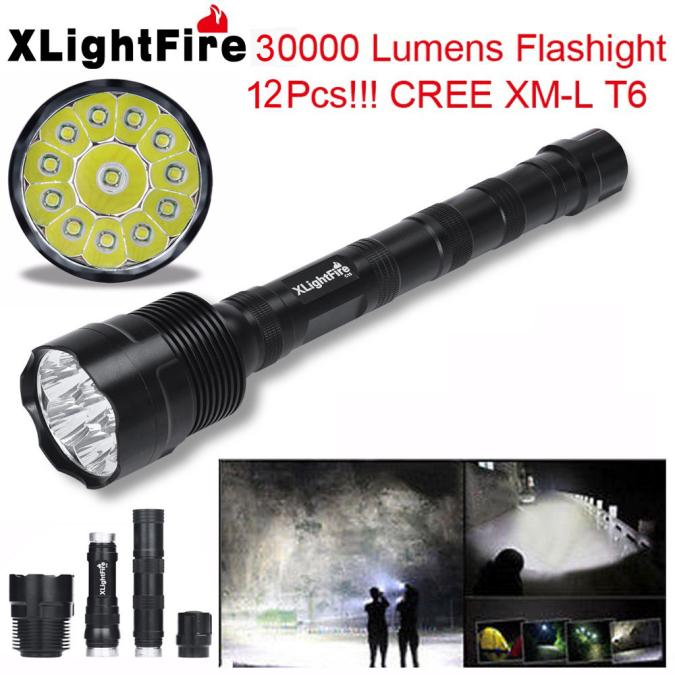 XLightFire 30000 Lumens 12x CREE XML T6 5 Mode 18650 Super Bright LED Flashlight
