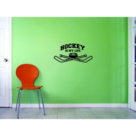Custom Decals Hockey Is My Life Wall Art Size: 14 X 28 Inches Color: Black