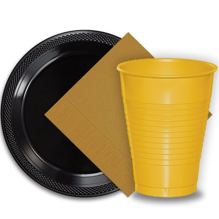"""50 Black Plastic Plates (9""""), 50 Yellow Plastic Cups (12 oz.), and 50 Gold Paper Napkins, Dazzelling Colored Disposable Party Supplies Tableware Set for Fifty Guests."""