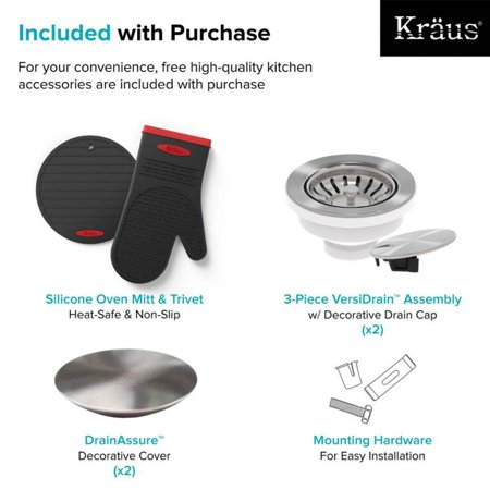 Kraus KD1UD33B 33 in. Undermount Double Bowl Kitchen Sink with DrainAssure WaterWay & VersiDrain Assembly, Radiant Pearl - image 1 of 5