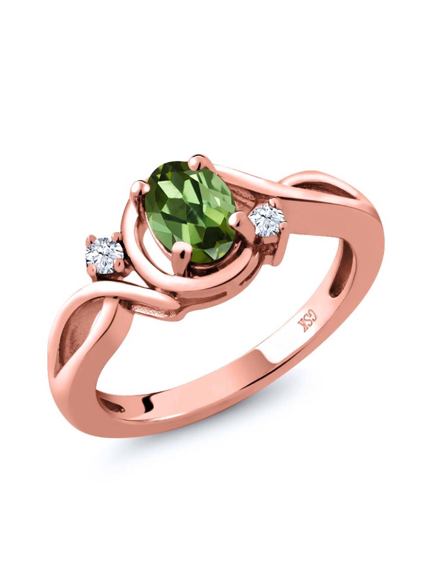 0.78 Ct Oval Green Tourmaline White Topaz 18K Rose Gold Plated Silver Ring by