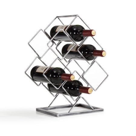 Danya B. Antique Silver Electroplated 6 Bottle Wine Rack