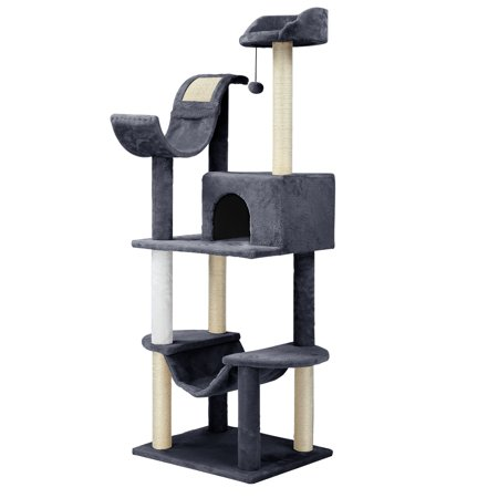 Finether 60.5 High 5-Tier Cat Tree Tower Furniture Kitten Playhouse with Sisal Covered Scratching Posts, Hammock, Perches, Platform and Dangling Ball, Grey/White