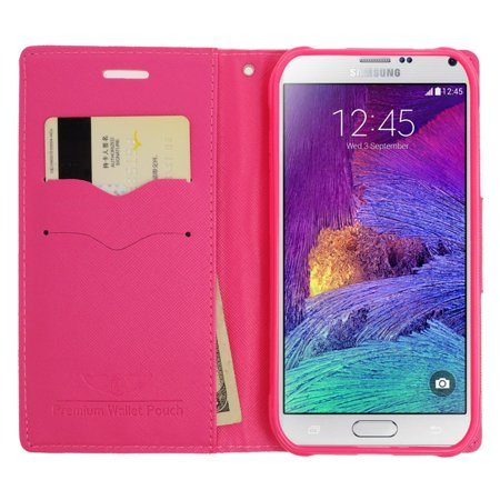 Insten Leather Wallet Case with Card slot & Lanyard For Samsung Galaxy S6 Edge Plus - Pink/Hot Pink - image 1 of 3