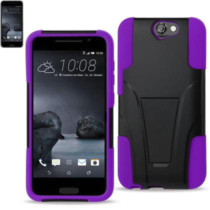 REIKO HTC ONE A9 HYBRID HEAVY DUTY CASE WITH KICKSTAND IN PURPLE BLACK