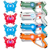 Ktaxon Laser Tag Sets of 4 Multiplayer Infrared Blaster Tag Toy Guns with Vests, Laser Tag Gun Toys for Indoor Outdoor Activity
