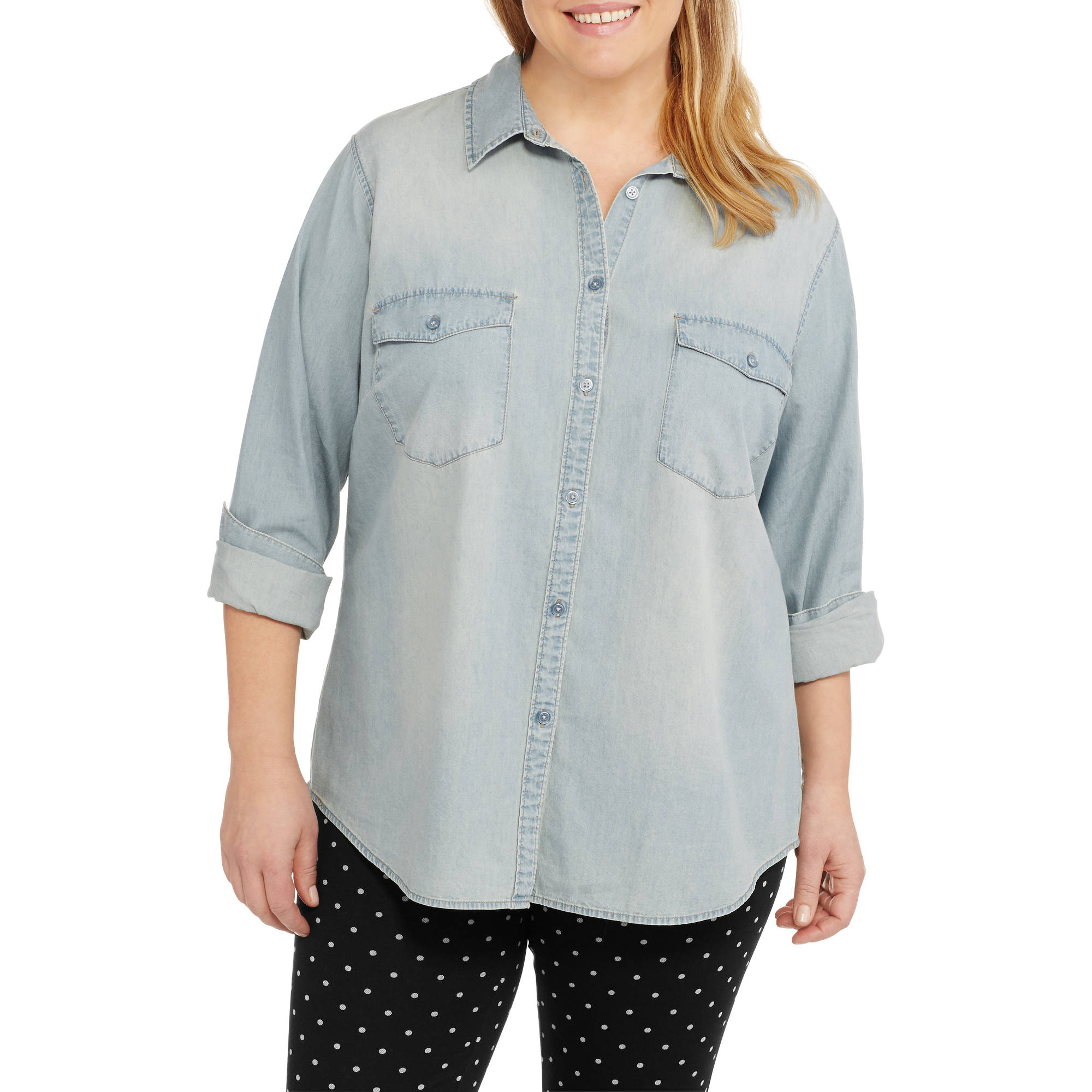 Faded Glory Women's Plus Classic Chambray Button-up Shirt