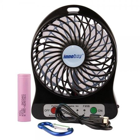 innobay Personal Fan USB/ Rechargeable Battery Operated with LED Light, Quiet (4-inch, Black) Black Fan Light