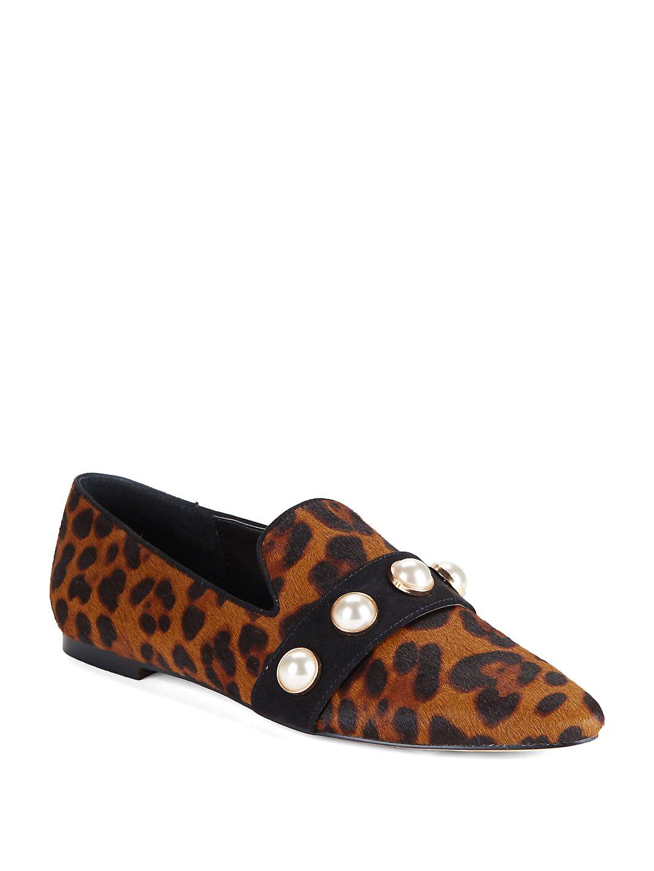 Haven Embellished Leopard Print Calf Hair Loafers
