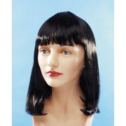 Star Power Flapper Bob with Bangs Short Length Straight Wig, Black, One Size