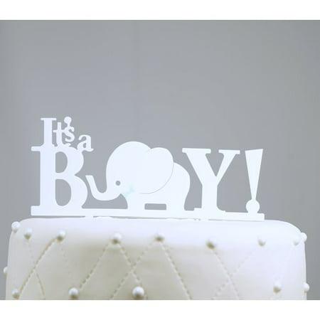 Unik Occasions It's a Boy Baby Acrylic Cake Topper](Baby Elephant Cake Topper)