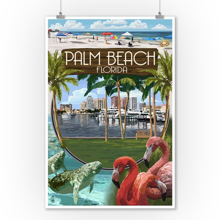 Palm Beach, Florida - Montage Scenes - Lantern Press Poster (9x12 Art Print, Wall Decor Travel Poster) - Beach Lanterns