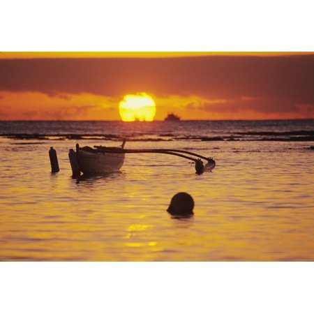 Hawaii Outigger Canoe Silhouetted On Ocean At Sunset Orange Reflections On Water And Sun On Horizon Canvas Art   Joss Descoteaux  Design Pics  34 X 22