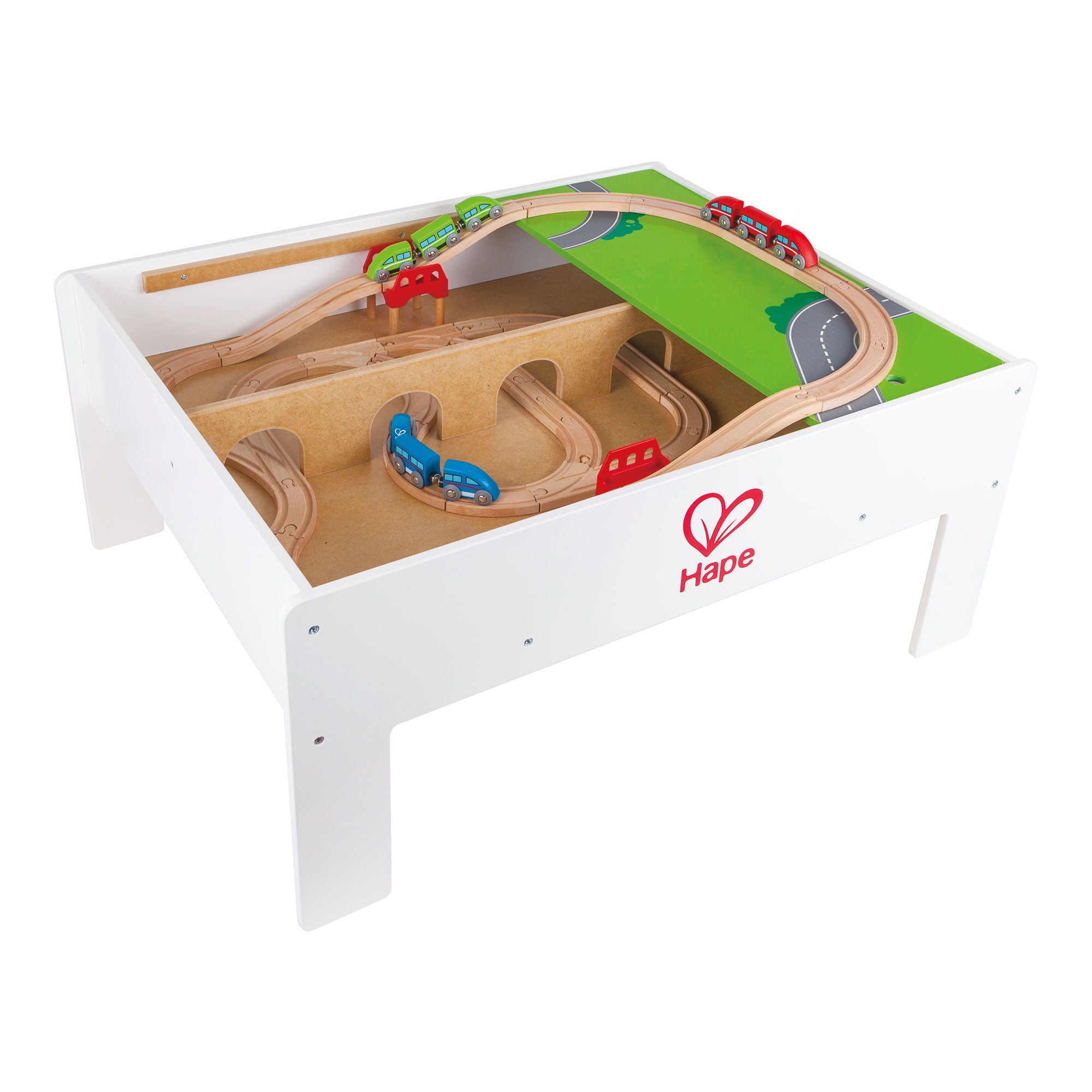 Hape Railway Play and Stow Wooden Train Set Activity & Toy Storage Play Table by HaPe