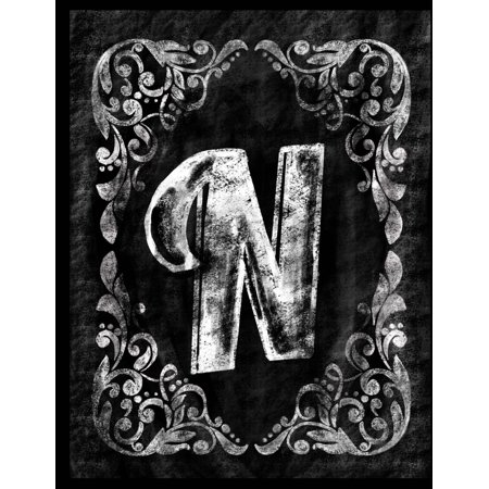 N: Personalized (Monogram Initial) Chalkboard Journal/Notebook for Women/Men Teens or Tweens; Vintage Inspired Chalkboard Art Border with Initial Letter; Full Alphabet Available:50 8.5 X 11 Lightly Li