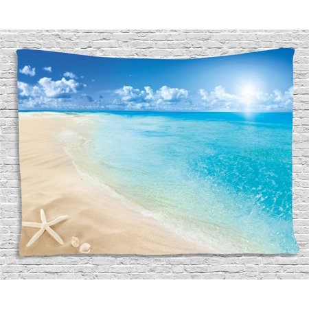 Beach Tapestry, Sunny Summer Seashore with Clear Sky Seashells Starfish Clouds Aquatic Picture, Wall Hanging for Bedroom Living Room Dorm Decor, 80W X 60L Inches, Aqua Cream Blue, by Ambesonne