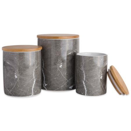 """DII 3-Piece Modern Ceramic Kitchen Canister with Airtight Bamboo Lid for Food Storage, Serve Coffee, Sugar, Tea, Spices, and More (Assorted Sizes: 4.5x4.5x5.5"""", 4x4x4.5"""", & 3x3x4"""") - Black Marble"""
