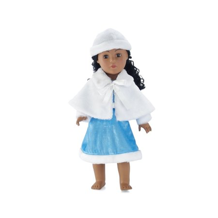 18 Inch Doll Clothes | Ice Blue Winter Dress Outfit with White Faux Fur Hat and Cape | Fits American Girl Dolls