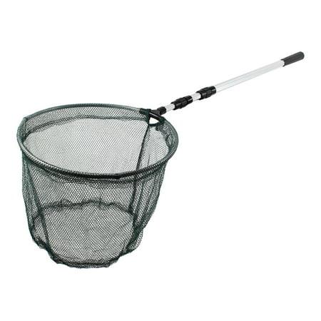 Unique Bargains 24.6  x 1  Telescopic Handle Landing Net Fishing Fish Angler Mesh Extending Pole Silver Tone Green ()
