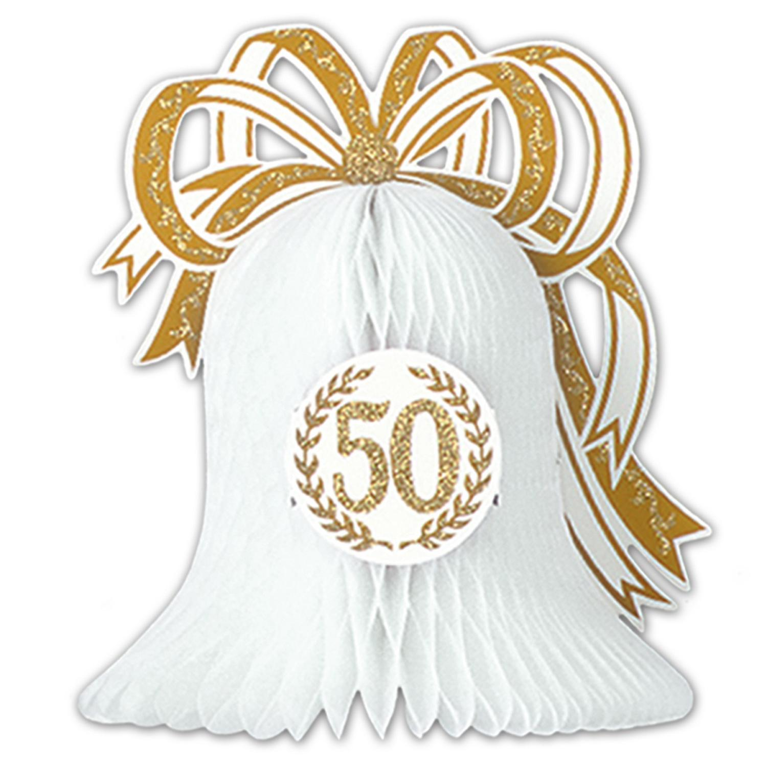"""Club Pack of 12 White and Gold """"50th"""" Anniversary Honeycomb Centerpiece Party Decorations10.5"""""""