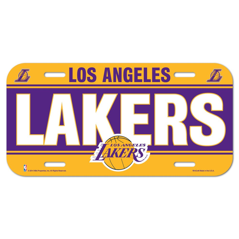 Los Angeles Lakers Official NBA 6 inch  x 12 inch  Plastic License Plate by WinCraft