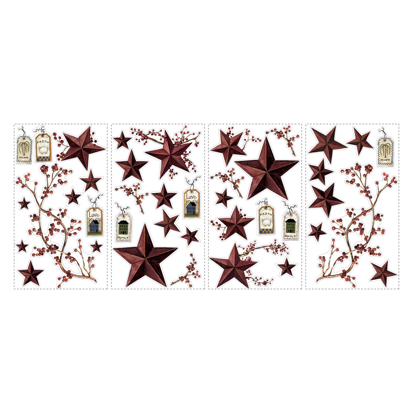 RoomMates Country Stars and Berries Peel and Stick Wall Decals
