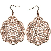 Rose Gold plated filigree earrings.