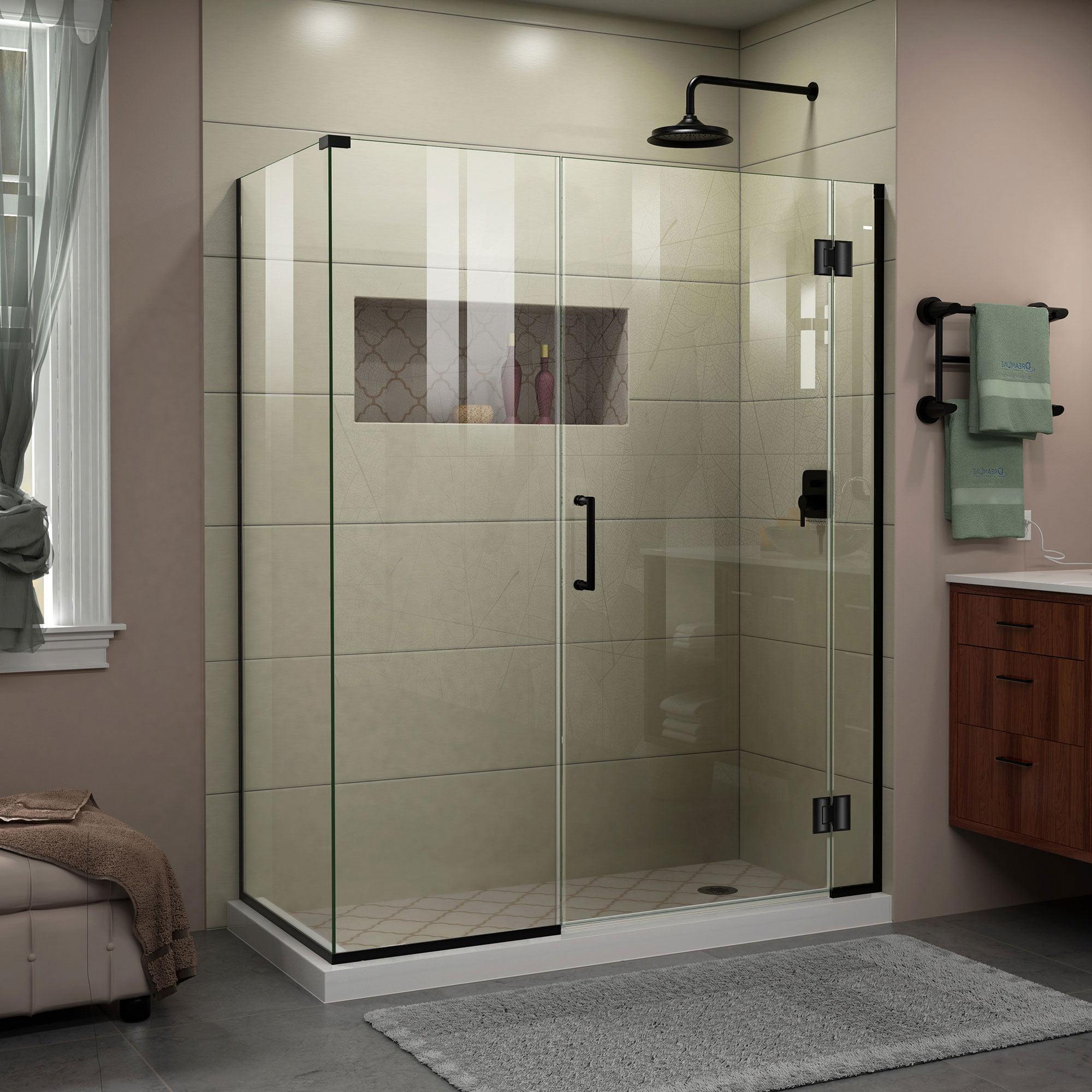 DreamLine Unidoor-X 46 in. W x 34 3/8 in. D x 72 in. H Frameless Hinged Shower Enclosure in Satin Black