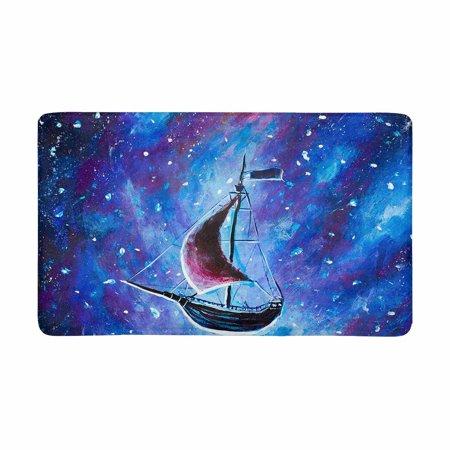 MKHERT Old Pirate Ship Flying Above Starry Sky Painting Doormat Rug Home Decor Floor Mat Bath Mat 30x18 inch - Above Door Decor