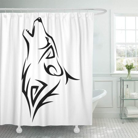 YUSDECOR Wolf Tribal Tatoo Howl Head Tattoo Dog Mascot Black Bathroom Decor Bath Shower Curtain 60x72 inch - image 1 de 1