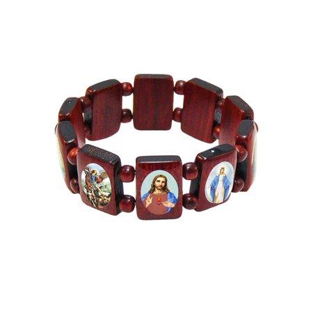 Elasticated Wooden Catholic Saints Bracelet Images Of Mary And 2 5 Inch